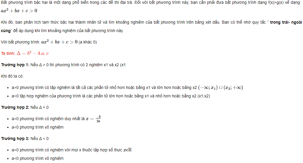 bat phuong trinh bac 2